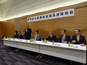 30日にも開催される予定のIR議員連盟総会(写真はかつて行われた総会の風景。マイクを持つのが細田会長)