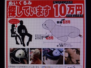 横浜市役所前で配られたオットちゃん捜索のビラ