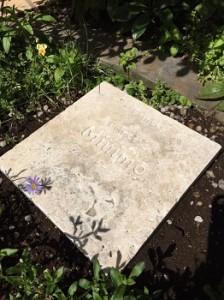 太田夫妻は今でもミニモの墓碑に語りかけている